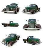 Set old restored pickup. Pick-up in the style of hot rod. 3d illustration. Green car on a white background. Stock Photography