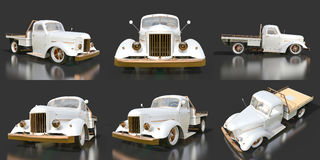 Set old restored pickup. Pick-up in the style of hot rod. 3d illustration. White car on a black background. Stock Images