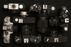 Set of 7 old retro cameras Royalty Free Stock Image