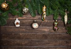 Set of old retro toys for decorating with Christmas tree branch Royalty Free Stock Photos