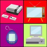A set of old retro vintage antique hipster analog technology, electronics for video games, a prefix and a pocket toy TV and comput. Er from the 80`s, 90`s on Vector Illustration