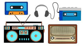 A set of old retro vintage hipster musical audio equipment, electronics from the 80`s, 90`s: cassette audio player, audio casset. Te, headphones, audio tape Stock Photo
