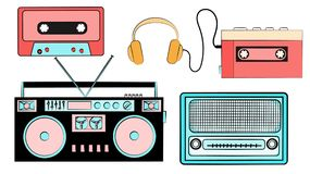 A set of old retro vintage hipster musical equipment, electronics from the 80`s, 90`s: cassette audio player, audio cassette, he. Adphones, audio recorder, radio Royalty Free Stock Image