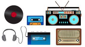 A set of old retro vintage hipster musical equipment, electronics from the 80`s, 90`s: cassette audio player, audio cassette, he. Adphones, audio tape recorder Stock Photo