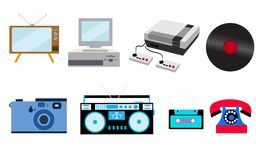 Set of old retro vintage hipster technology, electronics: computer, audio recorder, game console, audio cassette, disk telephone,. Vinyl record, camera, TV set Vector Illustration