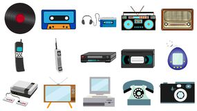 Set of old retro vintage hipster technology, electronics music vinyl, audio and video cassette tape recorder TV game console phone. Camera and player from the vector illustration