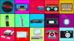 Set of old retro vintage hipster technology, electronics music vinyl, audio and video cassette tape recorder TV game console phone. Camera and player from the stock illustration