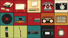 Set of old retro vintage hipster technology, electronics music vinyl, audio and video cassette tape recorder TV game console phone. Camera and player from the Stock Photo