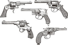 Set of old revolvers Stock Images