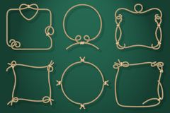 Set of Old Rope Frames in Different Unique Styles Royalty Free Stock Photo