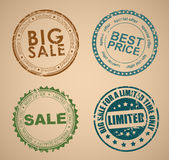 Set of old round stamps for sale Stock Image