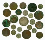Set of old Russian coins. Reverse Royalty Free Stock Photos
