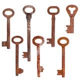 Rusty keys. Set of old rusty keys, isolated on white Royalty Free Stock Image
