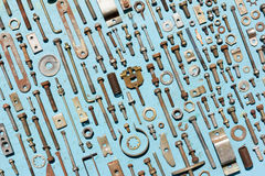 Set of old rusty metal screws, nuts and bolts Stock Photo
