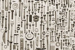 Set of old rusty metal screws, nuts and bolts Stock Images