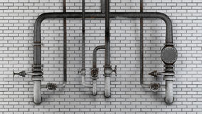 Set of old, rusty pipes and valves against white modern brick wall Royalty Free Stock Photos