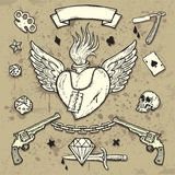 Set of Old School Tattoo Elements. On Grunge Texture background Stock Images