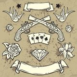 Set of Old School Tattoo Elements. On Grunge Texture background Royalty Free Stock Images