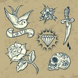 Set of Old School Tattoo Elements Stock Photography