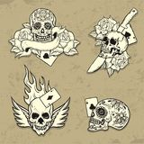 Set of Old School Tattoo Elements. With skulls Royalty Free Stock Photography