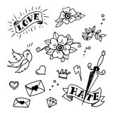 Set of old school tattoos elements Royalty Free Stock Image