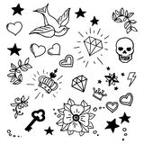 Set of old school tattoos elements Stock Photos