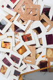 Set of old slides, photos and film on table Royalty Free Stock Images