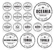 Set of old stamps with the name of the cores Oceania. Set of old worn stamps passport with the name of the cores Oceania. Templates sign for the travel and Stock Images