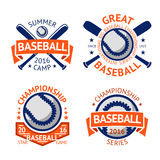 Set of old style Baseball Labels with ball and bats. Vector Royalty Free Stock Photo
