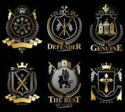 Set of old style heraldry emblems, vintage illustrations. Set of old style heraldry  emblems, vintage illustrations decorated with monarch accessories, towers Royalty Free Stock Photos