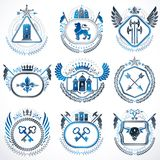 Set of old style heraldry vector emblems, vintage illustrations. Decorated with monarch accessories, towers, pentagonal stars, weapon and armory. Coat of Arms Stock Photo