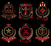 Set of old style heraldry vector emblems, vintage illustrations. Decorated with monarch accessories, towers, pentagonal stars, weapon and armory. Coat of Arms royalty free illustration