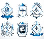 Set of old style heraldry vector emblems, vintage illustrations Stock Images