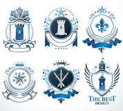 Set of old style heraldry vector emblems, vintage illustrations Royalty Free Stock Images