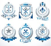 Set of old style heraldry vector emblems, vintage illustrations. Decorated with monarch accessories, towers, pentagonal stars, weapon and armory. Coat of Arms vector illustration