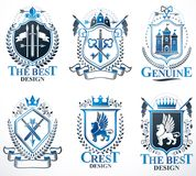 Set of old style heraldry vector emblems, vintage illustrations. Decorated with monarch accessories, towers, pentagonal stars, weapon and armory. Coat of Arms stock illustration