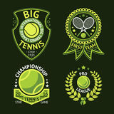 Set of old style Tennis Labels with ball and rackets. Vector Royalty Free Stock Photo