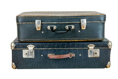 Set of old suitcases. Black retro suitcase. Vintage baggage. Vintage travel bags Royalty Free Stock Image