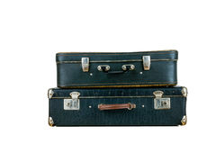 Set of old suitcases. Black retro suitcase. Vintage baggage. Vintage travel bags Royalty Free Stock Photography