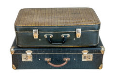 Set of old suitcases. Black retro suitcase. Vintage baggage. Vintage travel bags Stock Photography