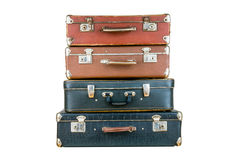 Set of old suitcases. Brown and black retro suitcase. Vintage baggage. Vintage travel bags Stock Images