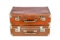 Set of old suitcases. Brown retro suitcase. Vintage baggage. Vintage travel bags Stock Photos