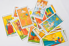 Set of old tarot cards. A Set of old tarot cards stock photo