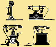 Set of old telephones royalty free illustration