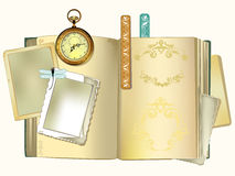 Set of old things for scrap booking. Old clock, old book with vintage frames royalty free illustration