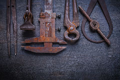 Set of old tools on vintage  board Stock Photo