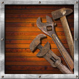 Set of Old Tools on Wood Panel Stock Images