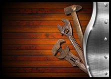 Set of Old Tools on Wood Panel Royalty Free Stock Photo