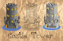 Set with old towers on paper background Royalty Free Stock Photography