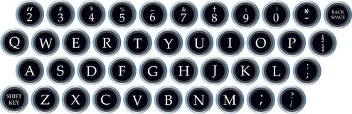 Set of old typewriter keys Stock Photography